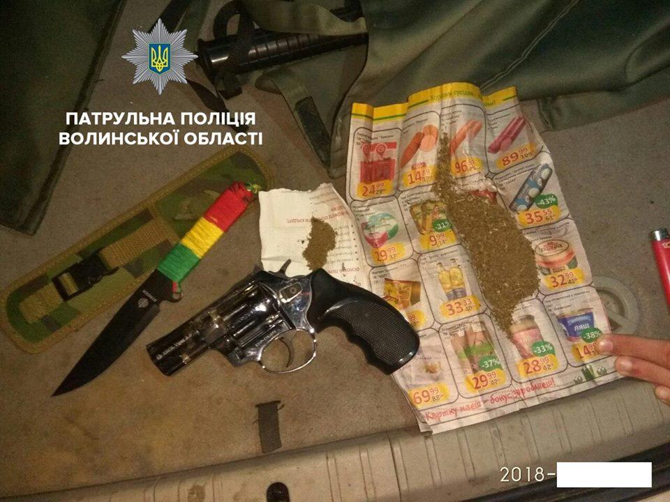 Волинські патрульні затримали молодиків з наркотиками та зброєю. ВІДЕО