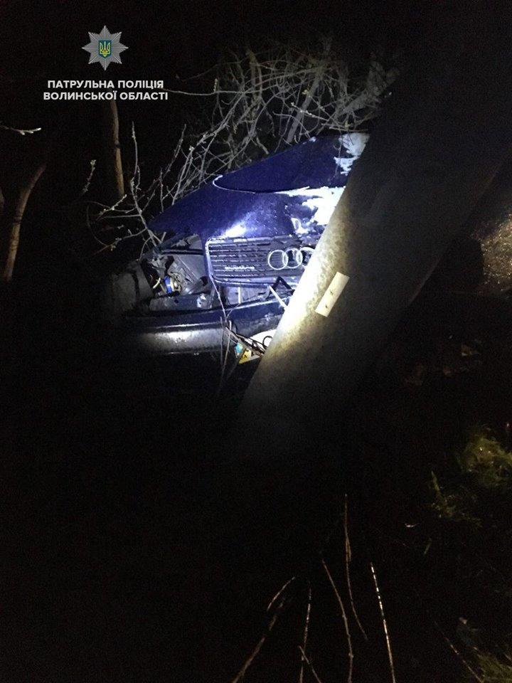 На Волині п'яний водій зіткнувся з електроопорою. ВІДЕО