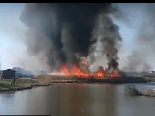 У селі під Луцьком загорілась трава. ВІДЕО
