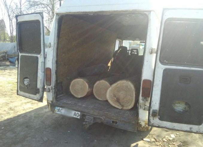 На Волині затримали бус із деревиною без документів