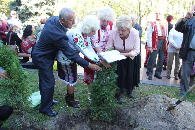 З нагоди Дня людей поважного віку в одному із скверів Луцька висадили дерева. ФОТО