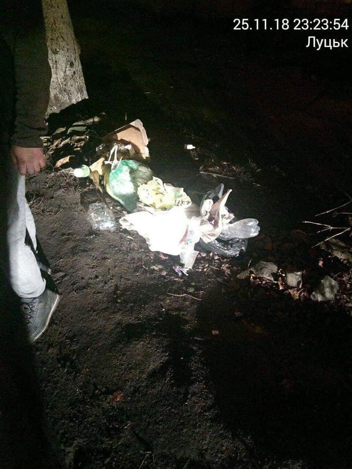 У Луцьку молодик вночі викидав сміття на узбіччя дороги