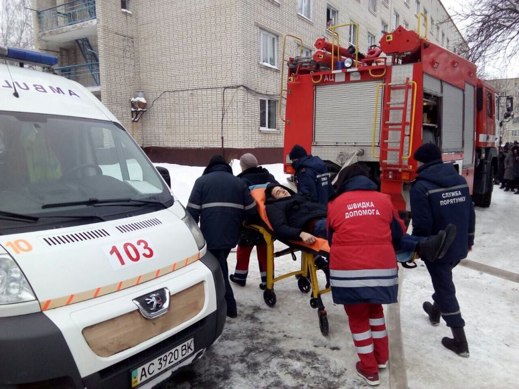 У Луцьку рятувальники гасили «пожежу» на території коледжу