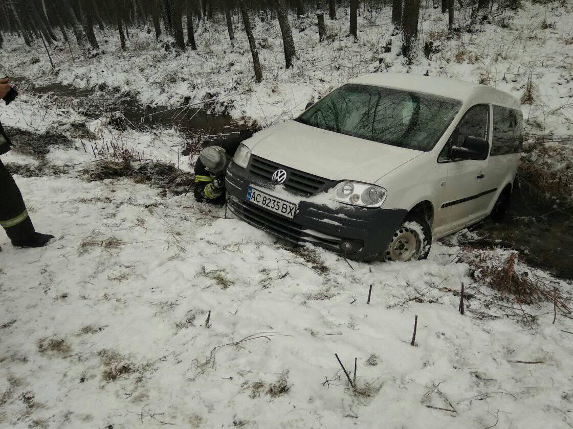 На Волині автомобіль з пасажирами потрапив у кювет