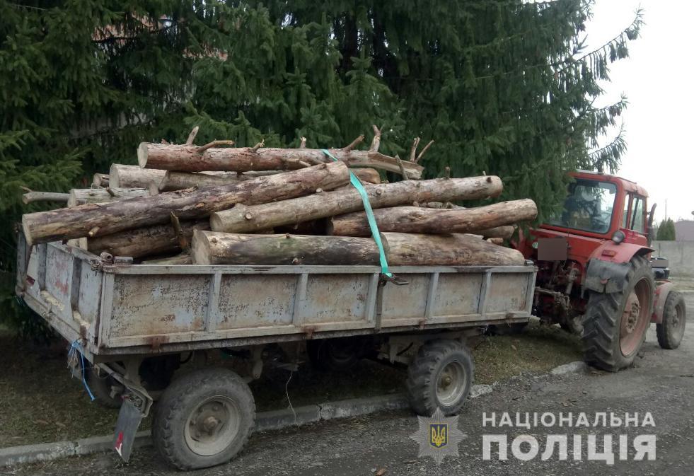 У Ковелі правоохоронці затримали трактор із сумнівною деревиною. ФОТО