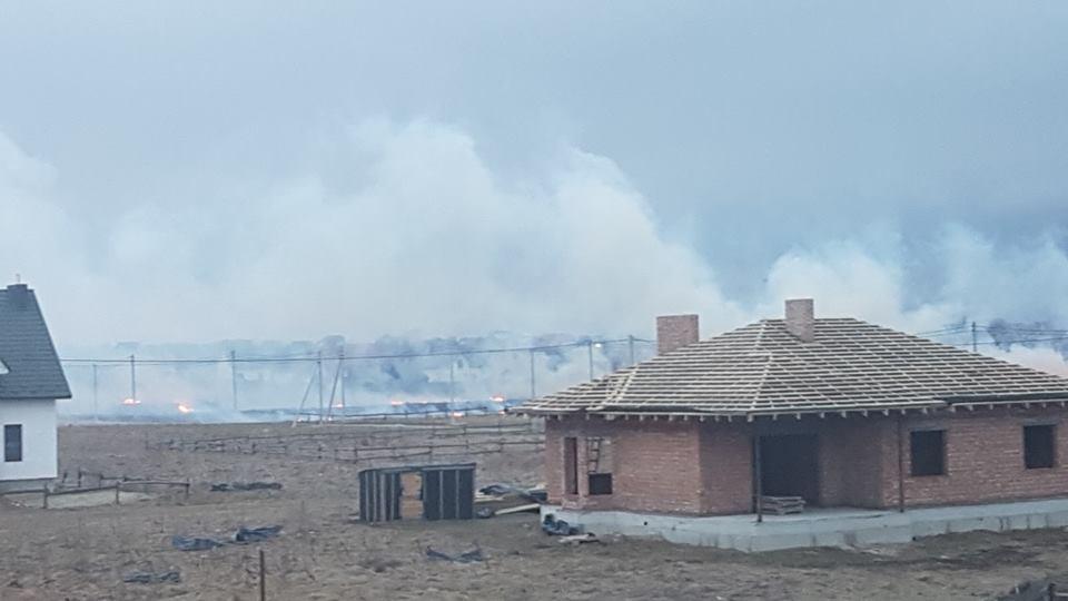 Біля Луцька горить луг, на якому проводили «Бандерштат»: вогонь уже дістався до будинків
