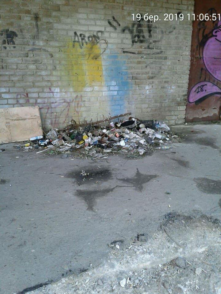 У Луцьку двір встелений сміттям
