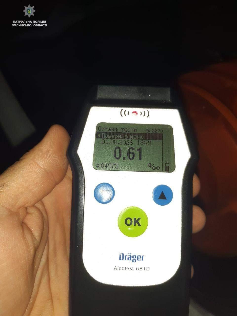 У Луцьку затримали водія, у якого у 8 разів була перевищена норма алкоголю в крові. ВІДЕО