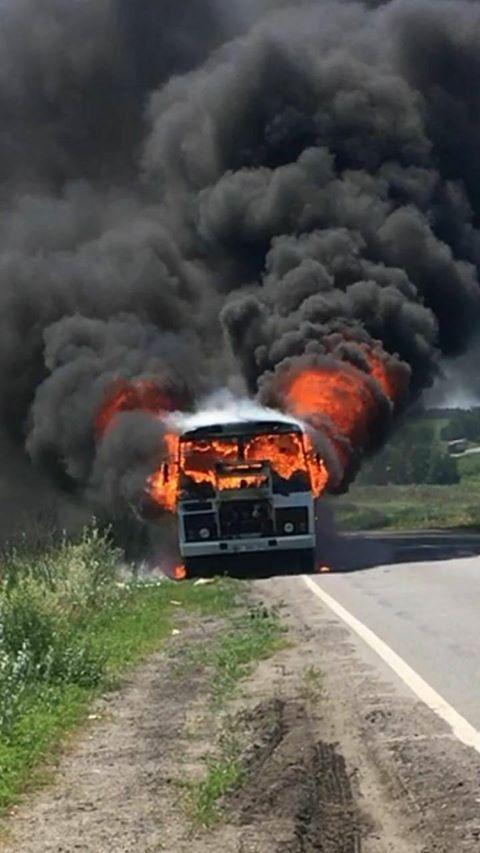 На Полтавщині загорівся автобус з пасажирами