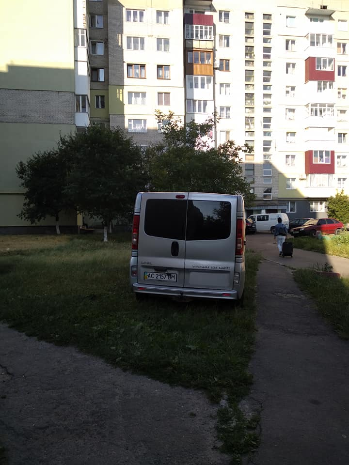 На Волині «автохам» припаркувався на зелених насадженнях