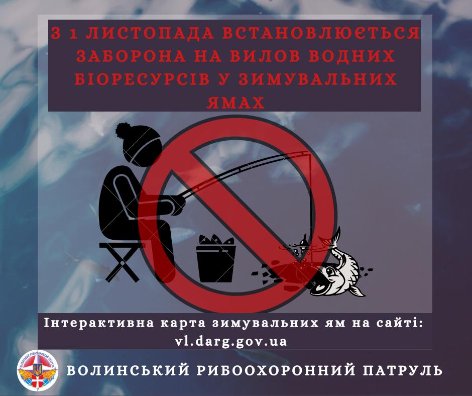 На Волині з 1 листопада заборонять виловлювати рибу у зимувальних ямах