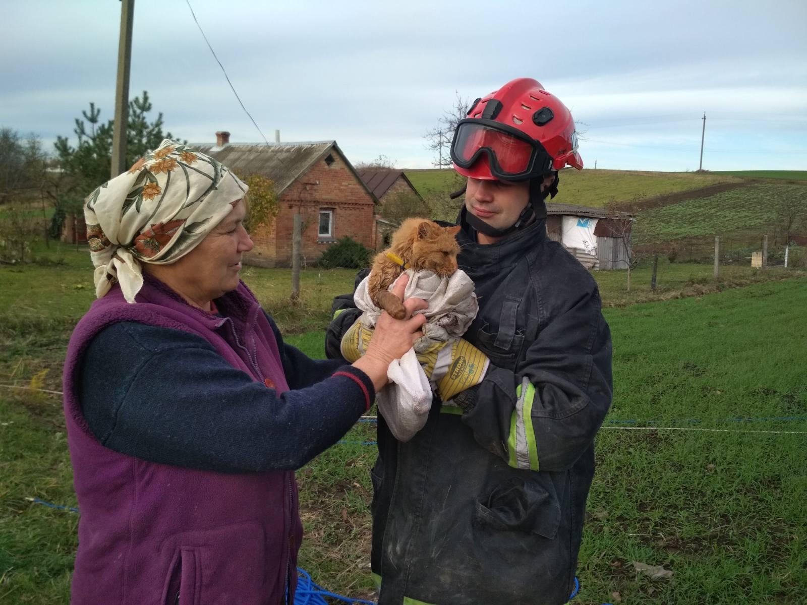 На Волині рятувальники визволили кота із закинутої криниці