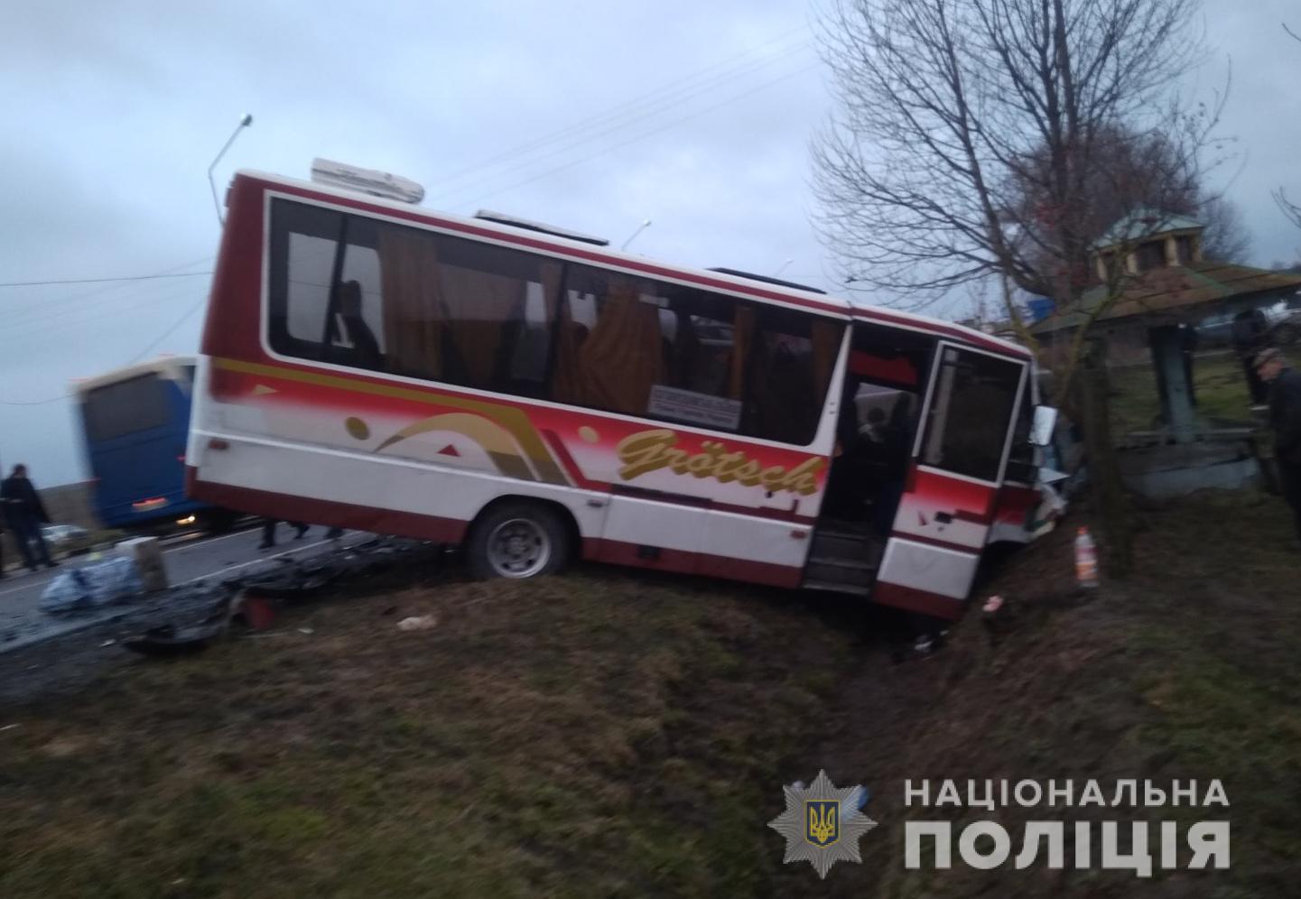 На Волині рейсовий автобус зіткнувся з мікроавтобусом