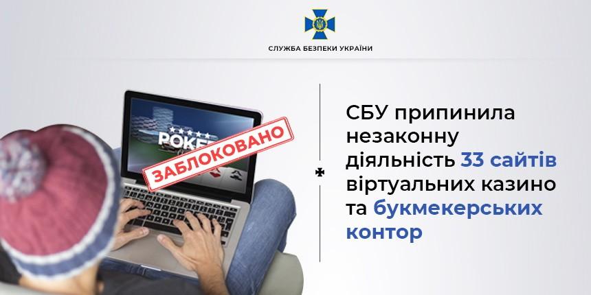 СБУ блокувала діяльність понад 30 незаконних онлайн-казино