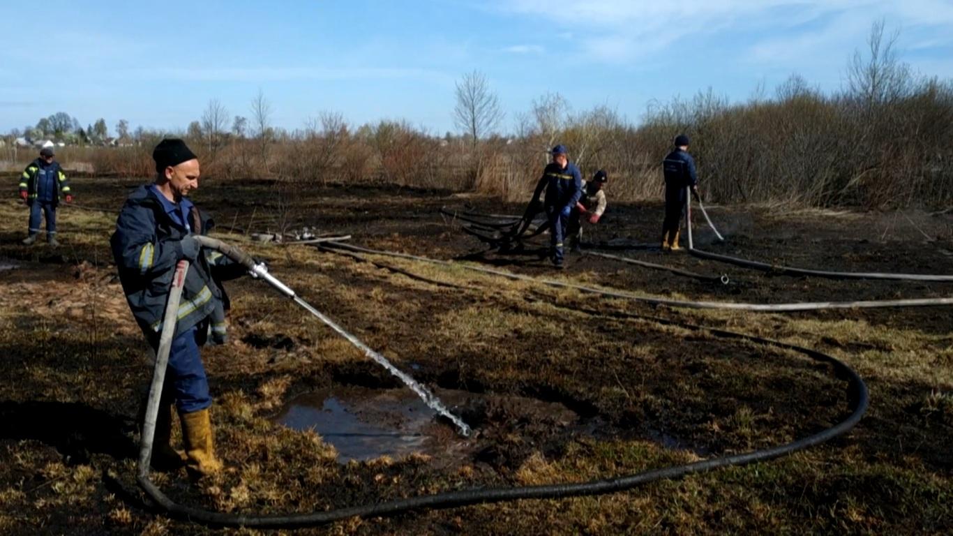 На Волині загасили пожежу сухої трави та торфовища. ВІДЕО