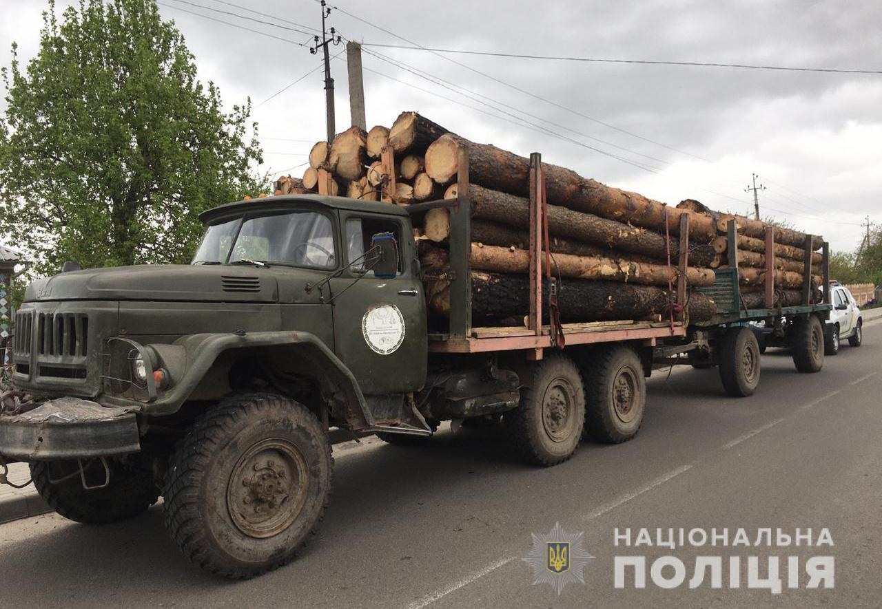 На Волині правоохоронці затримали три вантажівки з деревиною сумнівного походження