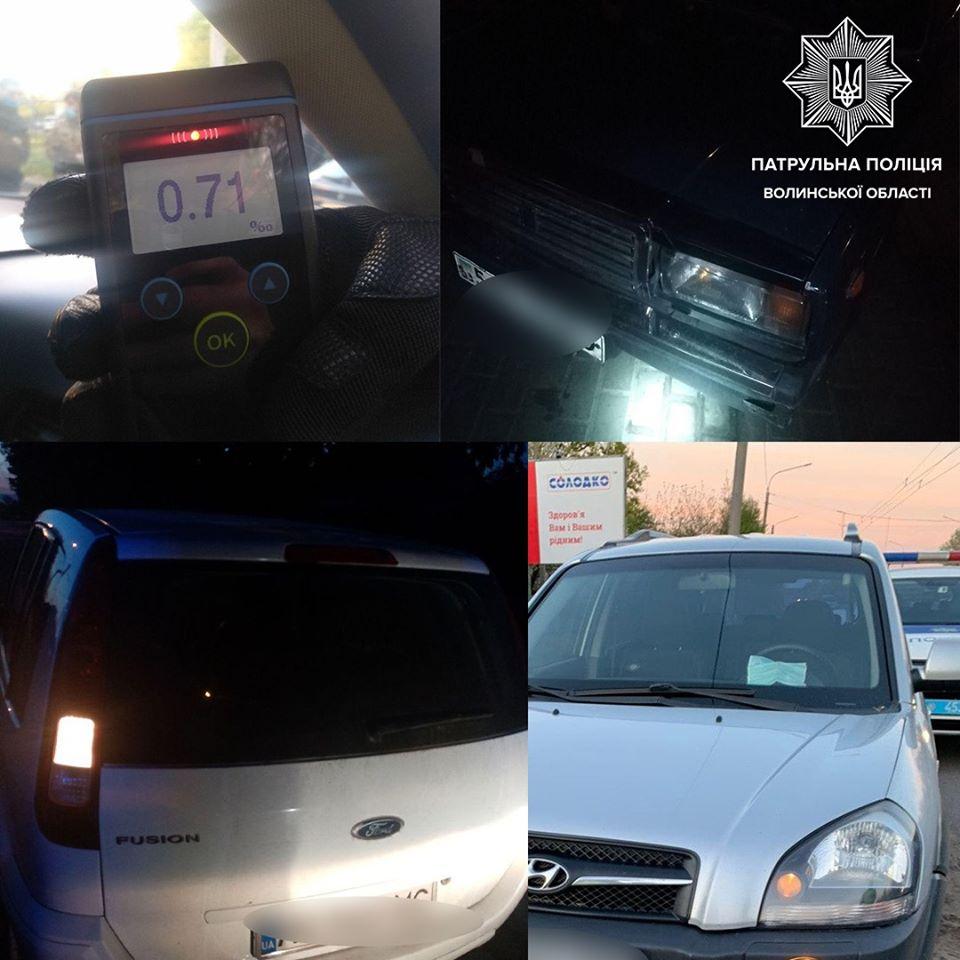 Протягом ночі луцькі патрульні виявили вісьмох нетверезих водіїв