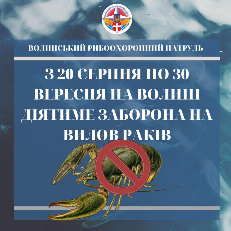 З 20 серпня на Волині діятиме заборона на вилов раків