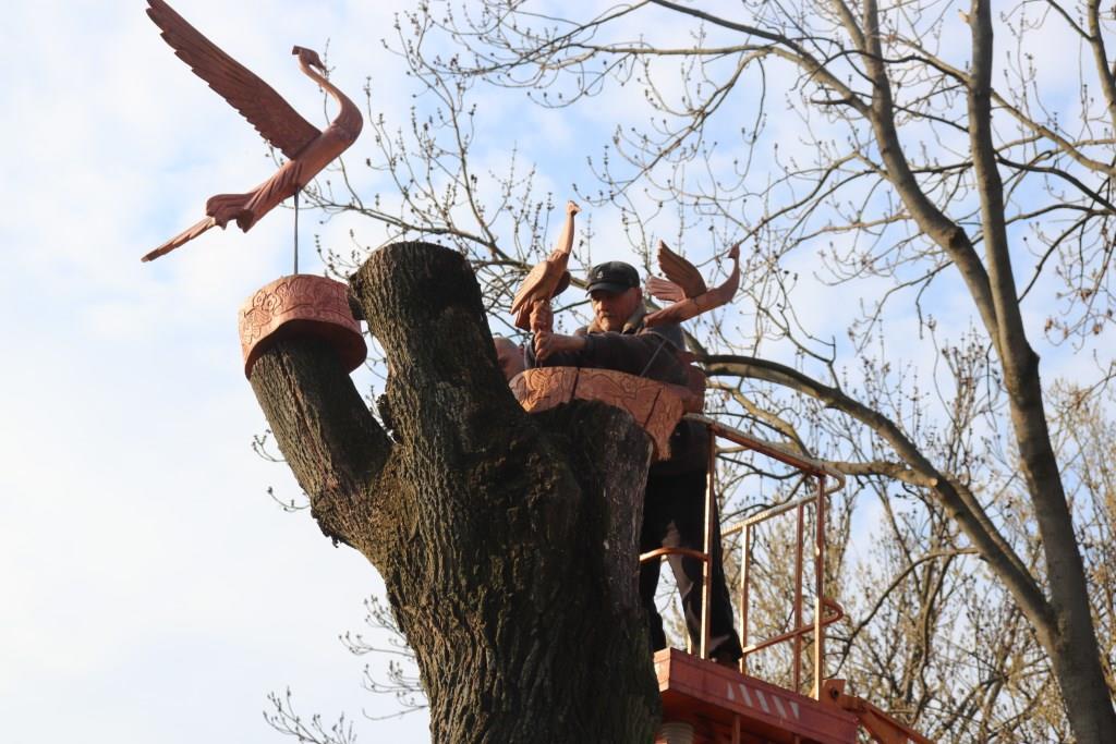 У Володимирі-Волинському зрізані дерева оздоблюють скульптурами