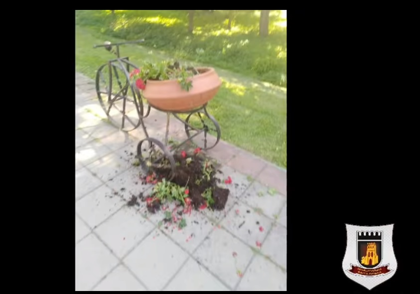 Невідомі молодики пошкодили клумбу у центральному парку Луцька