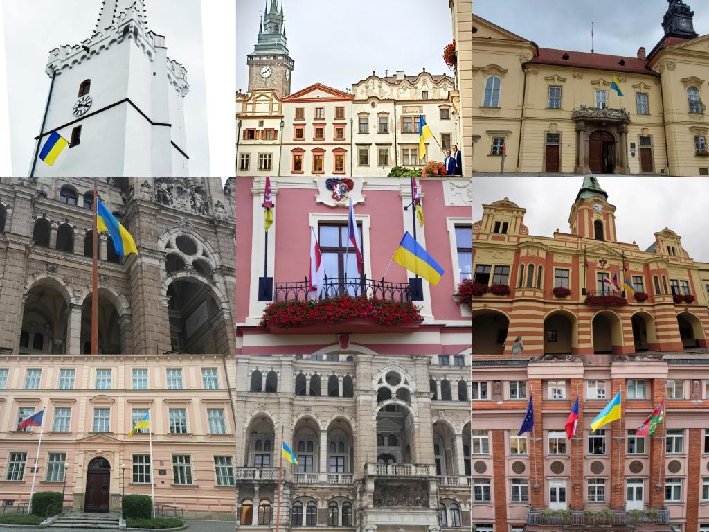 Низка міст у Чехії і Словаччині підняли український прапор до Дня Незалежності України