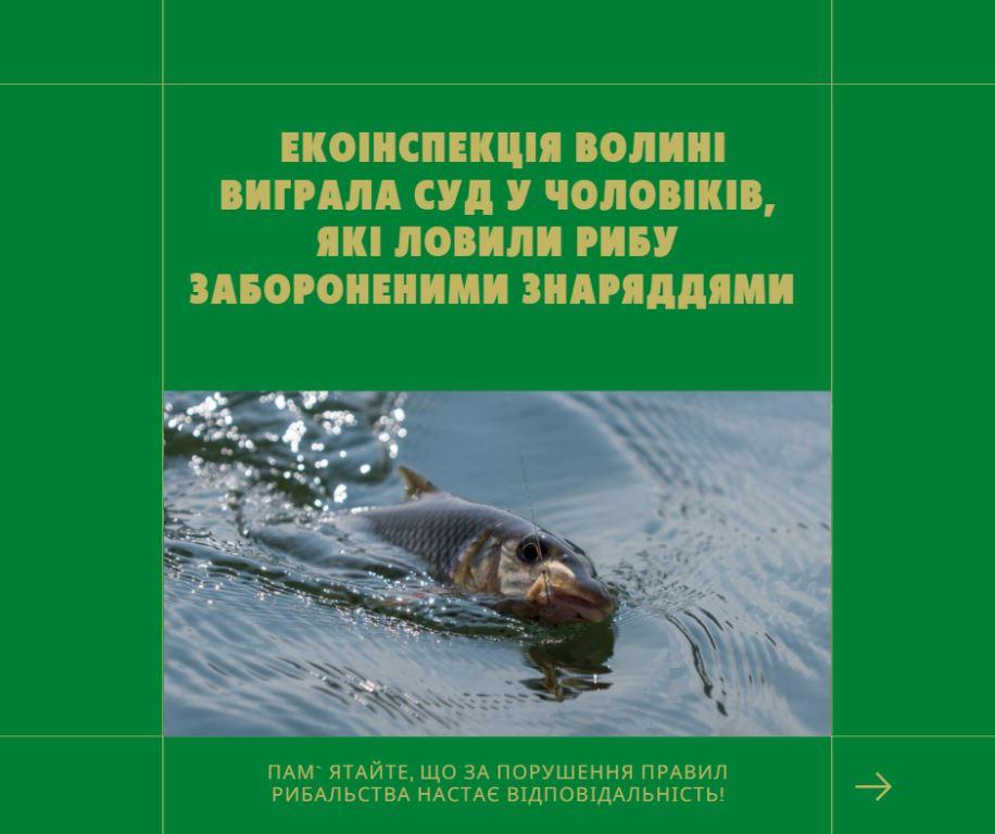 Екоінспекція Волині виграла суд у чоловіків, які ловили рибу забороненими знаряддями