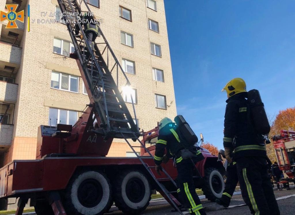 Пожежа у гуртожитку: у Ковелі провели навчання рятувальників